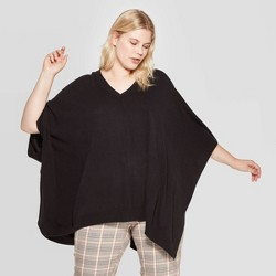Women's Plus Size Pullover V-Neck Poncho Wrap Jacket - A New Day™ One Size