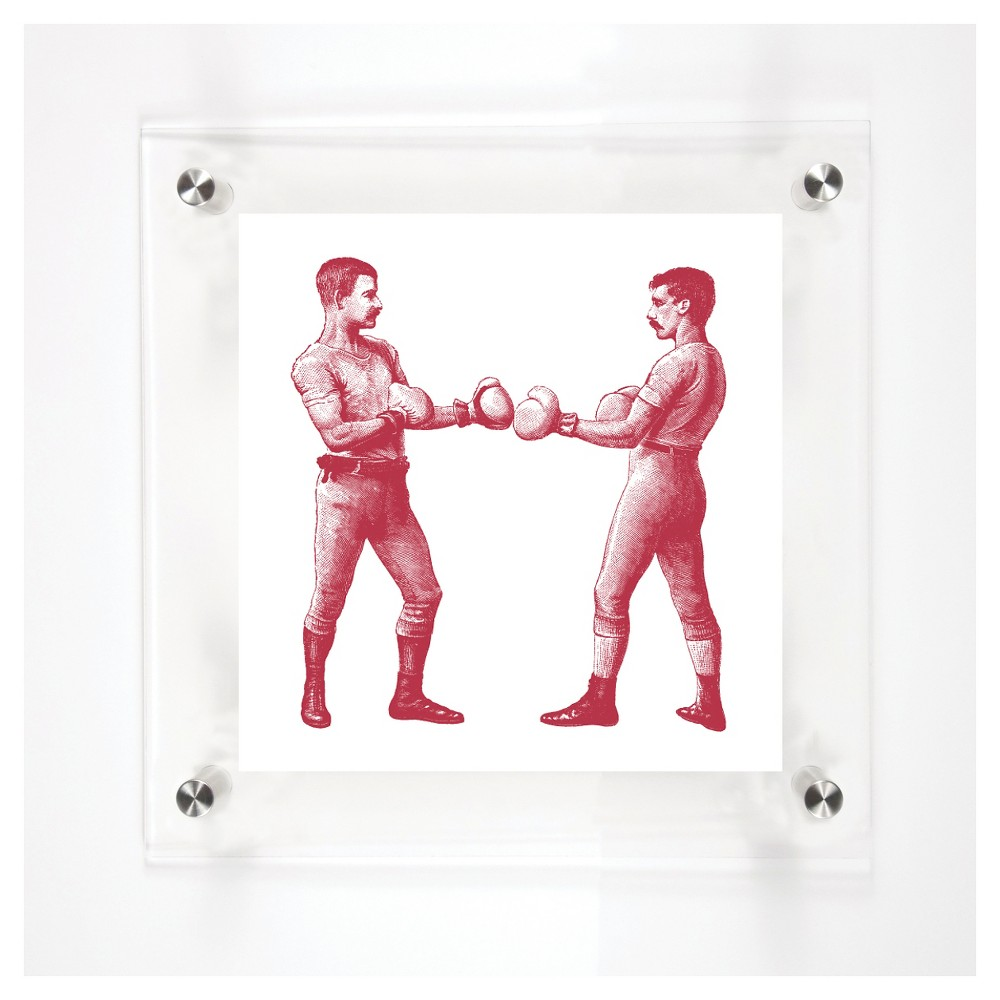 Mitchell Black Boxers On Guard Decorative Framed Wall Canvas Cranberry (12