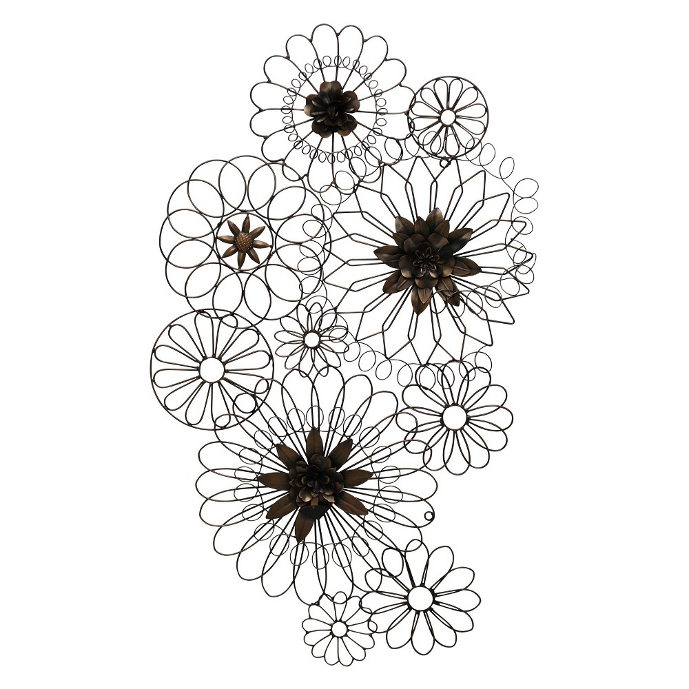 36 Floral Metal Circles Iron Finish Decorative Wall Art Brown - StyleCraft