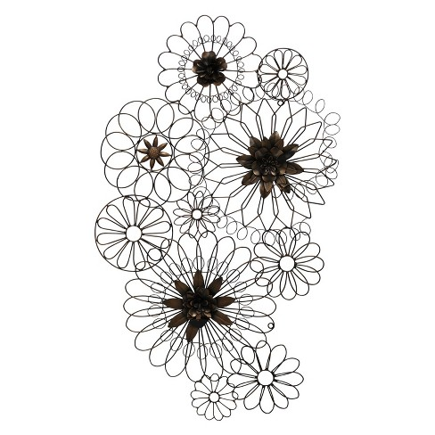 "36"" Floral Metal Circles Iron Finish Decorative Wall Art Brown - StyleCraft - image 1 of 2"