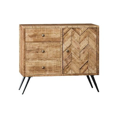 Be Mindful Rustic Farmhouse Mid Century Modern Fusion 3 Drawer Mango Wood Top & Iron Hairpin Legs Chevron Pattern China Cabinet Buffet Sideboard
