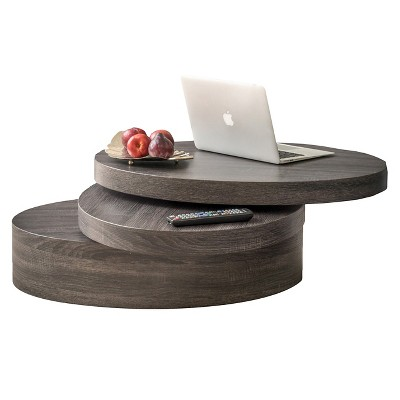 Beau Carson Small Oval Rotatable Coffee Table Black Oak   Christopher Knight Home
