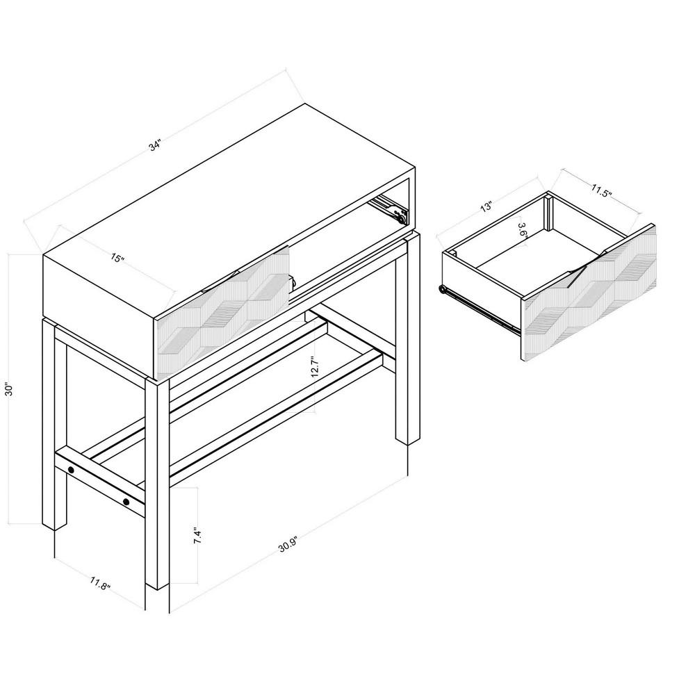Tachuri Geometric Front Console Table Brown - Opalhouse