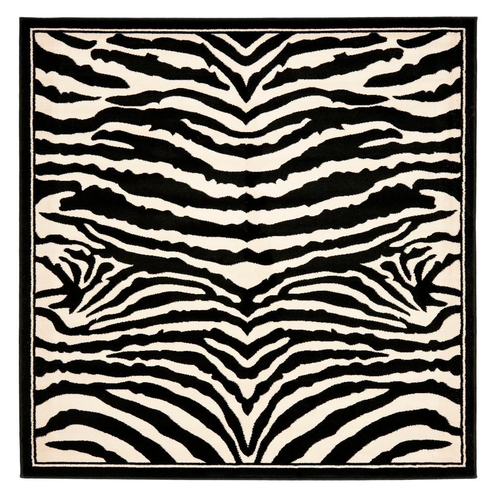 7'X7' Animal Print Loomed Square Area Rug White/Black - Safavieh