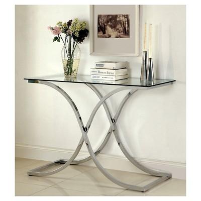 ioHomes Contemporary Metal Glass Top Sofa Table Chrome : Target