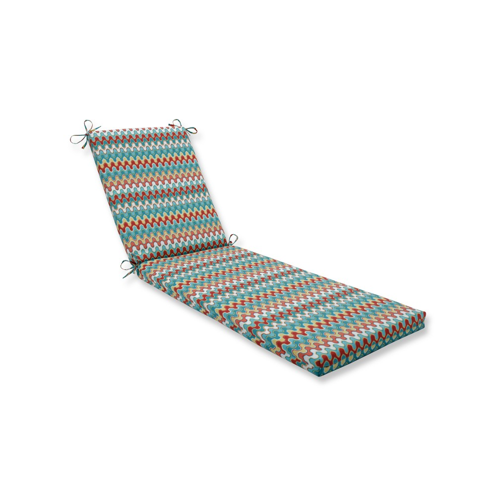 Indoor/Outdoor Nivala Tribal Blue Chaise Lounge Cushion - Pillow Perfect