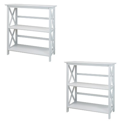 Casual Home Montego 3 Tier Open Shelf X Design Wooden Bookcase, Wood (White) (2 Pack)