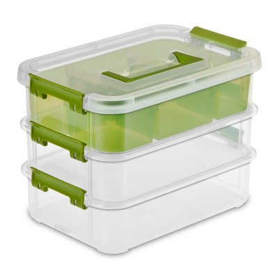Sterilite Small 3 Layer Stack & Carry with Tray Clear with Green Accents
