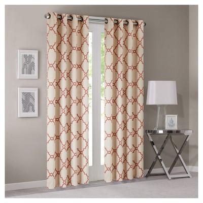 Sereno Fretwork Print Curtain Panel Beige/Spice (50 x84 )