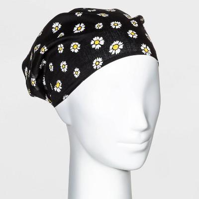 Daisy Printed Chiffon with Elastic Back Headscarf - Wild Fable™ Black