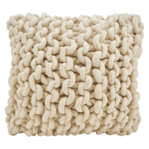 """18""""x18"""" Chunky Knit Square Throw Pillow Cream - Saro Lifestyle - image 1 of 3"""