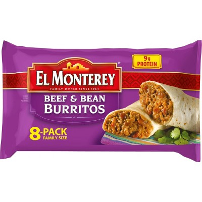 El Monterey Family Pack Beef & Bean Frozen Burritos - 8ct