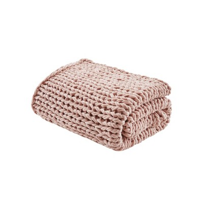 Chunky Double Knit Handmade Throw Blanket Blush