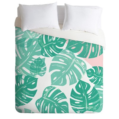 Green Floral Bianca Linocut Monstera Rosy Duvet Cover - Deny Designs
