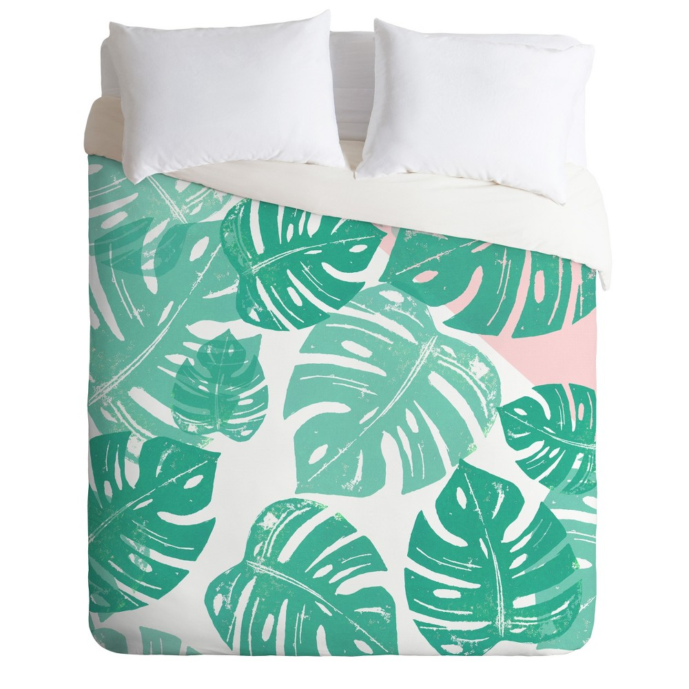 Green Floral Bianca Linocut Monstera Rosy Duvet Cover (Twin) - Deny Designs