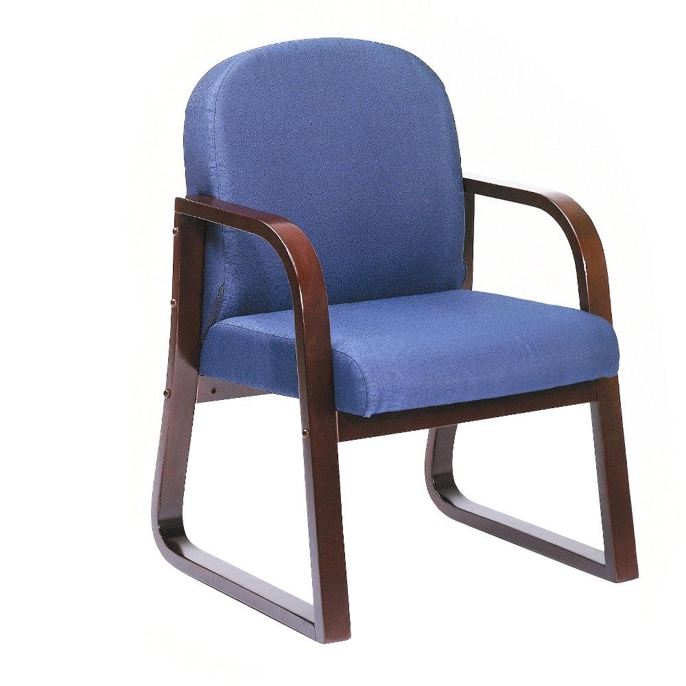 Mahogany Reception Chair - Blue - Boss