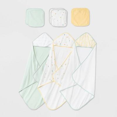 Baby Girls' 9pk 'ABC' Hooded Towel and Washcloth Set - Cloud Island™ Mint