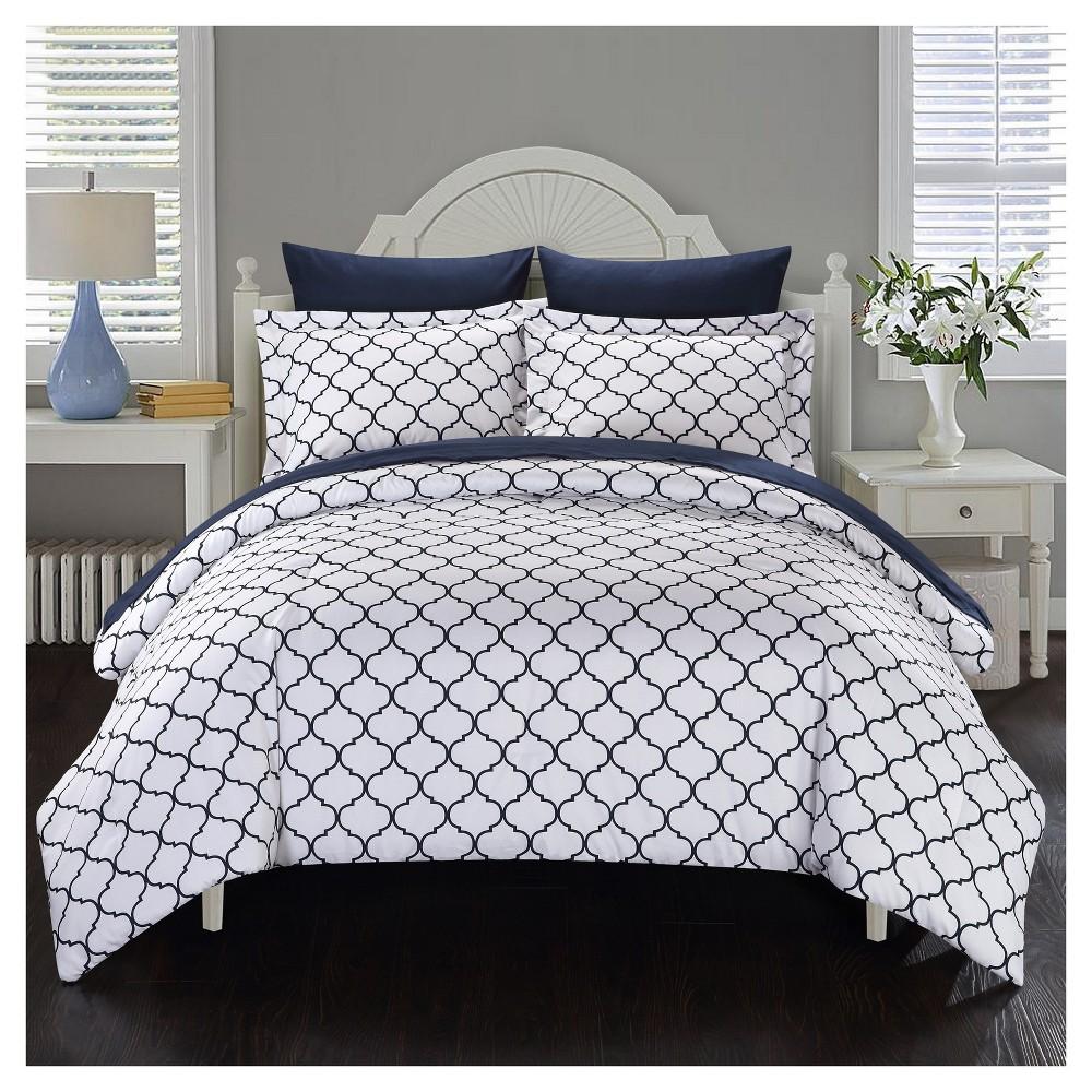 Maitland Geometric Diamond Printed Reversible Comforter Set 7 Piece (Queen) Navy (Blue) - Chic Home Design