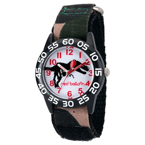 Boys' Red Balloon Dinosaur Black Plastic Time Teacher Watch - Camo - image 1 of 2