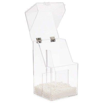 Glamlily Acrylic Makeup Brush Holder with Lid and Beads Cosmetic Organizer (6 x 5.7 x 9.25 In)
