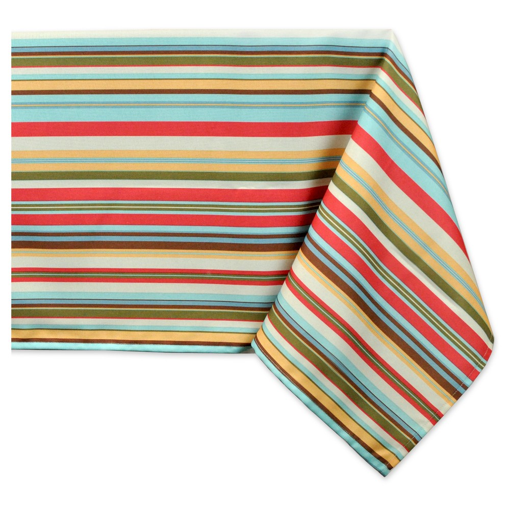 Best Review 84x60 Stripe Umbrella Tablecloth Green Design Imports Multicolored Yellow Red Green