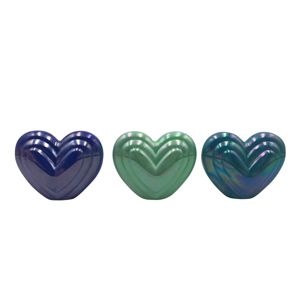 Image of 3ct Valentine's Fillable Plastic Heart Blue/Green - Spritz , Blue Green