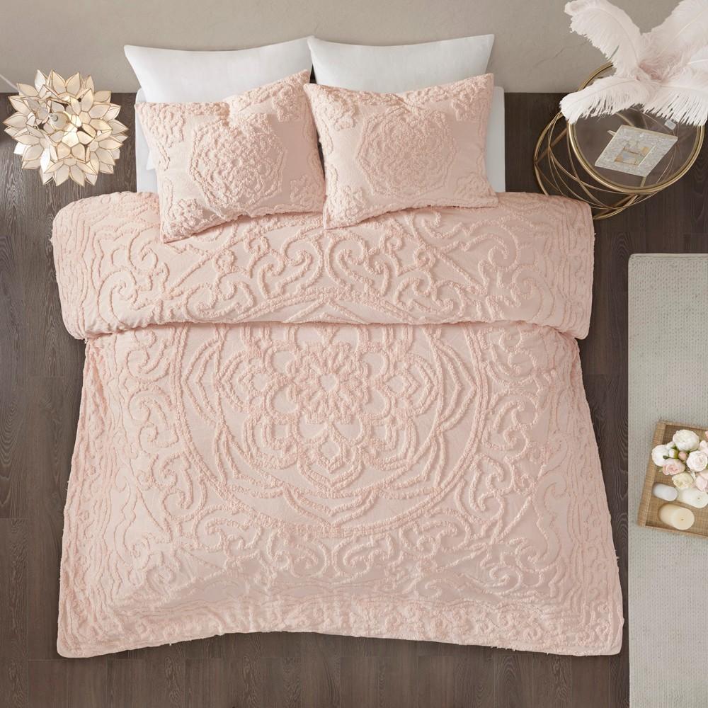 3pc King Cecily Cotton Medallion Comforter Set Blush