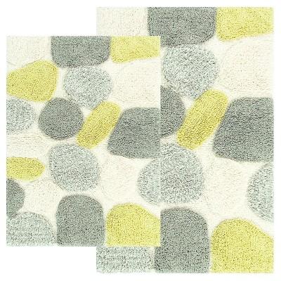 Pebbles 2 - Pc. Bath Rug Set Olive & Heather Gray - Chesapeake Merch Inc.®