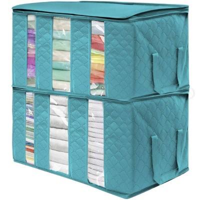 "Sorbus 2pk 3 Sectional 24""x14""x11"" Foldable Fabric Storage Organizer Bag Aqua"