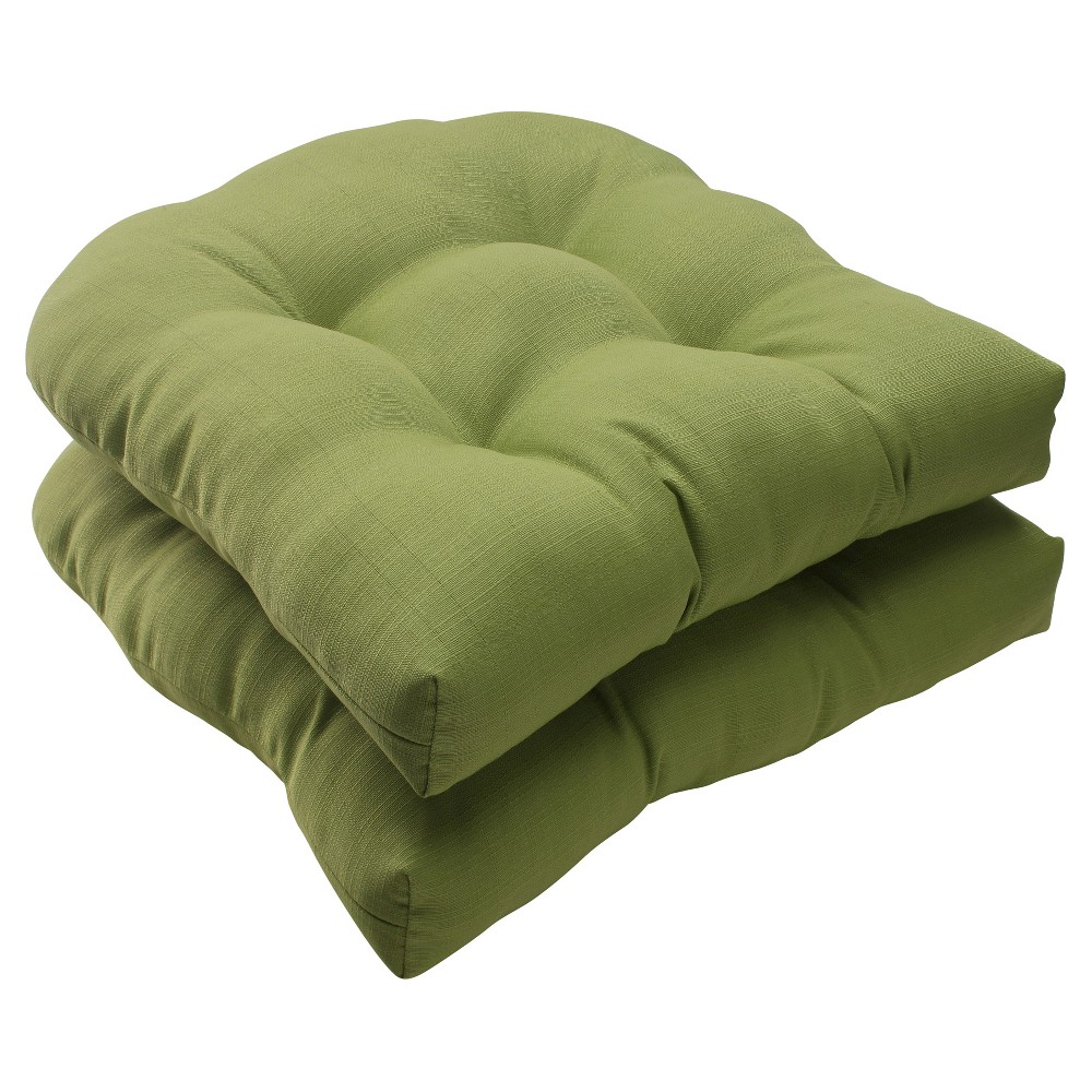 Outdoor 2-Piece Wicker Seat Cushion Set - Green Forsyth Solid