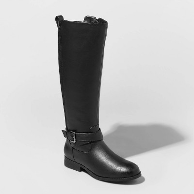 Women's Wendy Faux Leather Buckle Riding Boots - A New Day™ Black 7.5