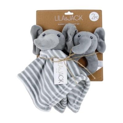 Lila and Jack Elephant Lovey & 5x5.3 Rattle Gift Set