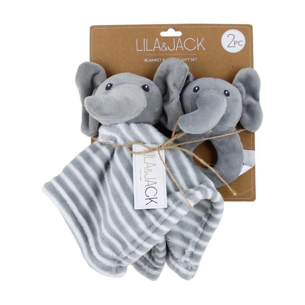 Image of Lila and Jack Elephant Lovey & 5x5.3 Rattle Gift Set