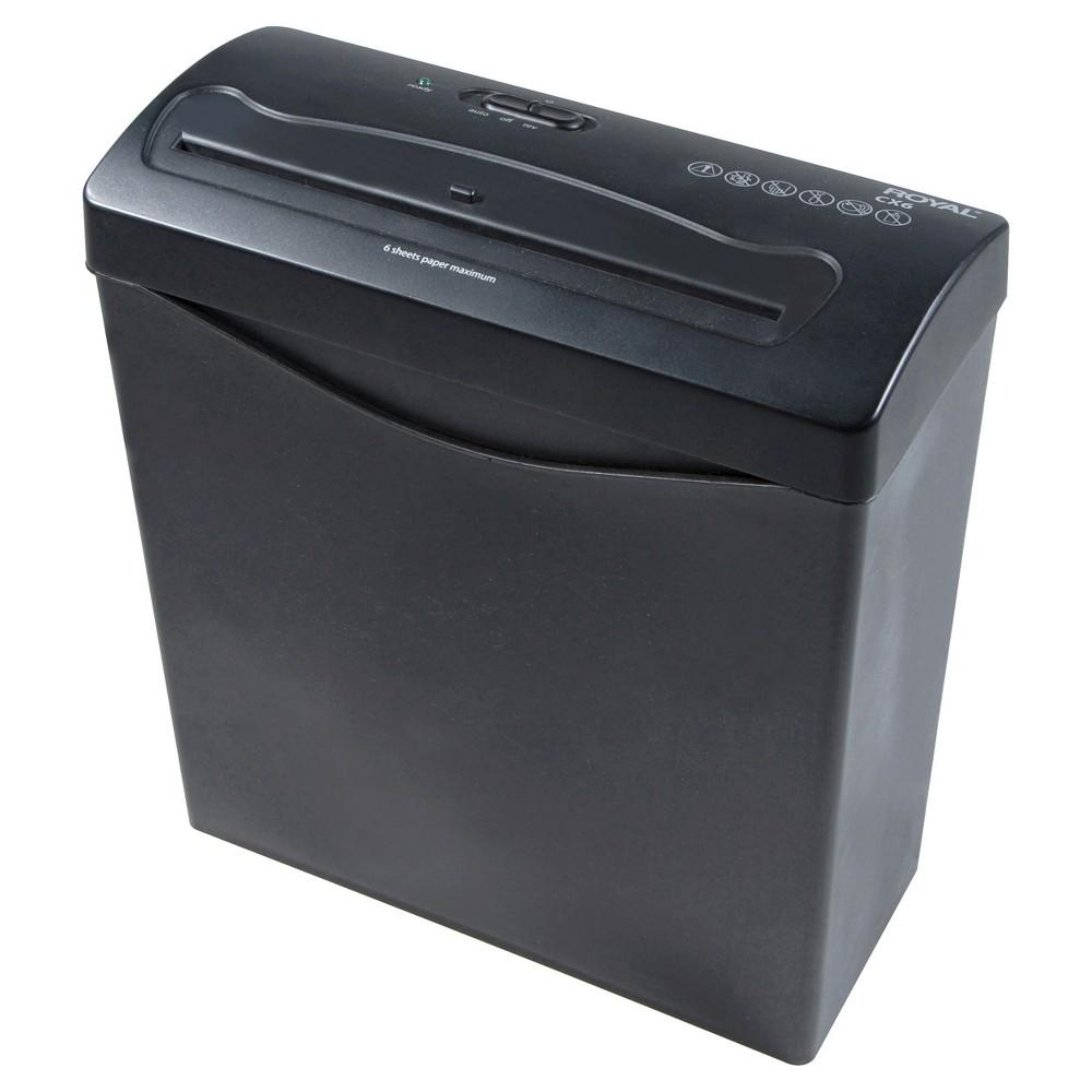 Image of Royal Paper Shredder with Wastebasket, 9ppm, 6 sheet Cross-cut - Black