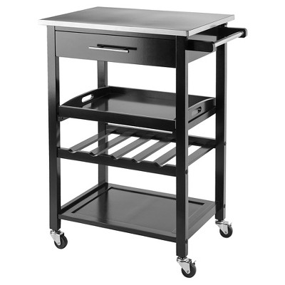 Anthony Stainless Steel Top Kitchen Cart Wood/Black   Winsome