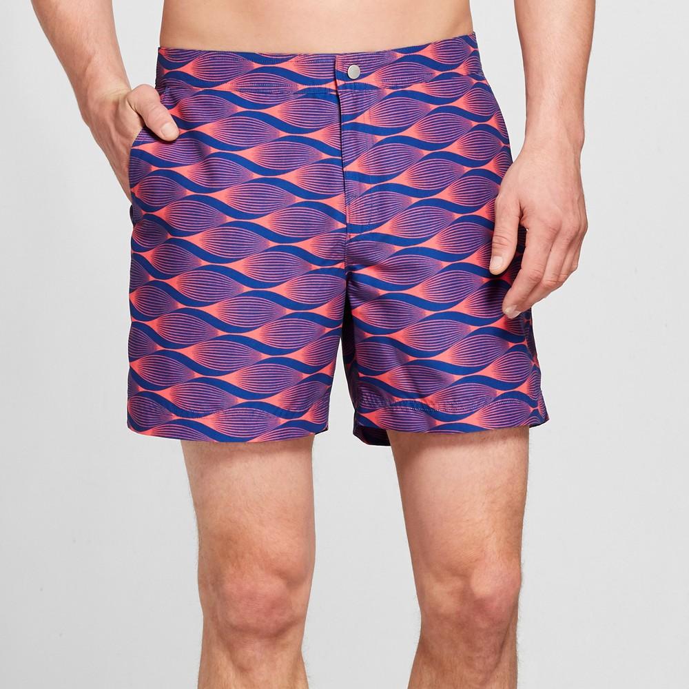 Men's 6 Geometric Snap Swim Trunks - Goodfellow & Co Navy 34, Blue