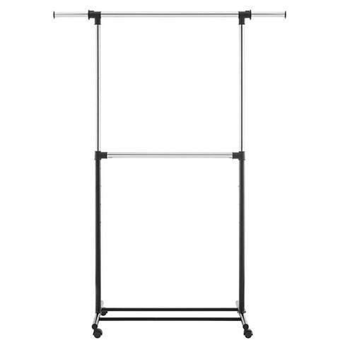 Metal Base Adjustable Double Rod Garment Rack   Black   Room