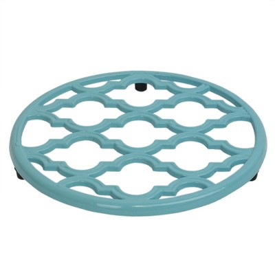 Home Basics Lattice Collection Round Heavy Weight Multi-Purpose Decorative Cast Iron Trivet with Soft Non-Skid Rubber Peg Feet, Turquoise