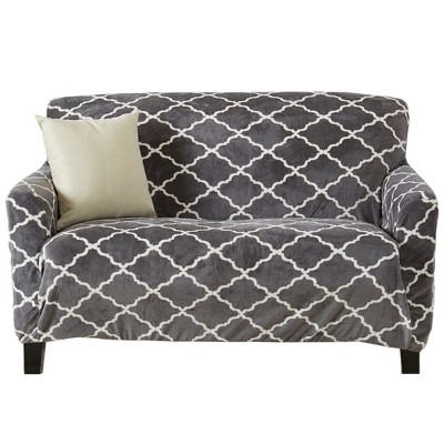 Great Bay Home Printed Stretch Fit Velvet Love Seat Slipcover