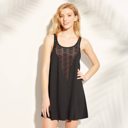 Women's Crochet Inset Cover Up Dress - Xhilaration™ Black - image 1 of 2