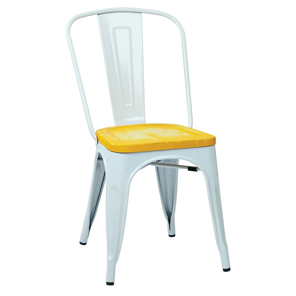 Set of 2 Bristow Distressed Wood Seat Chair Metal White - Osp Home Furnishings - Osp Home Furnishings, White/Yellow