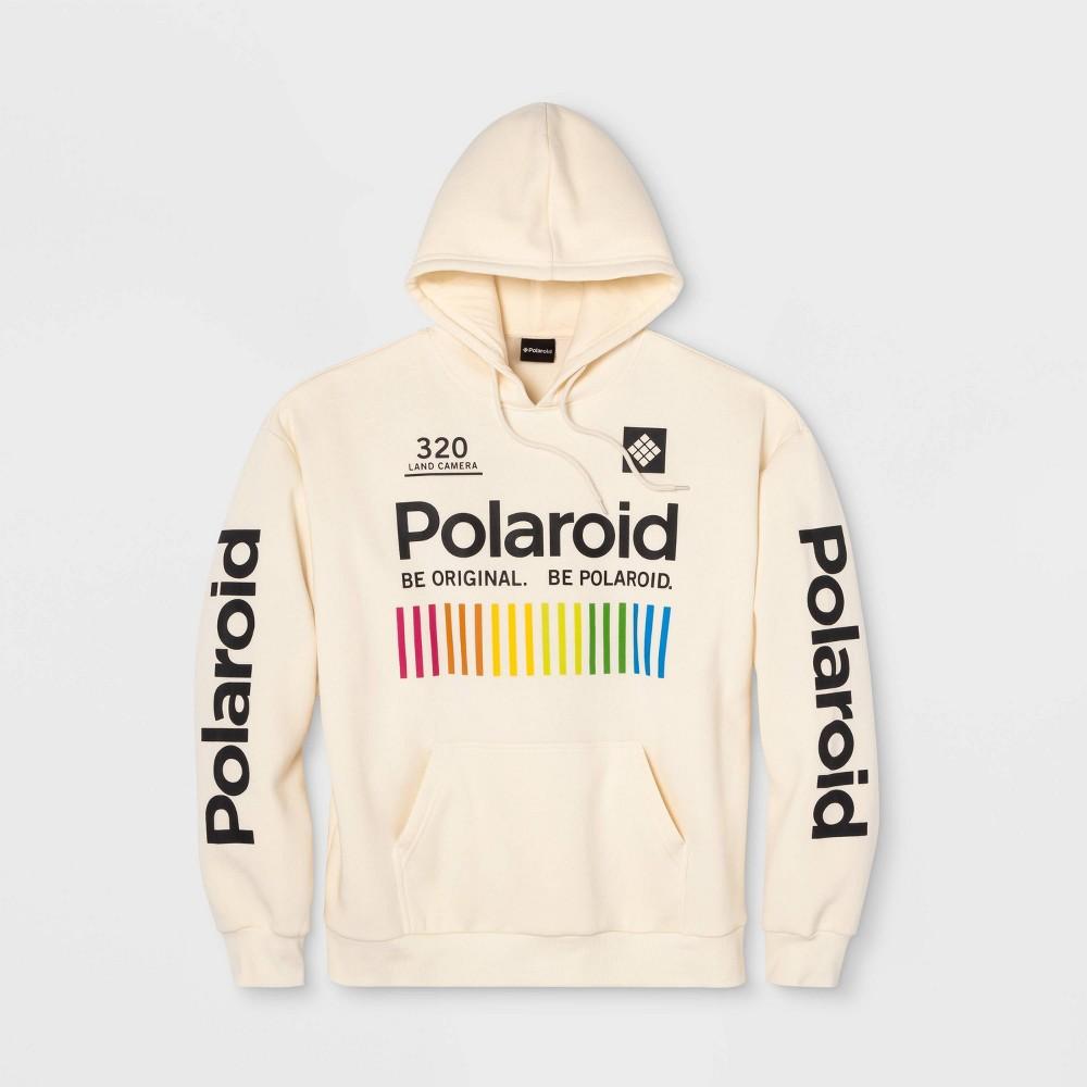 Image of Men's Polaroid Hooded Fleece Sweatshirt - Cream 2XL, Men's, Beige