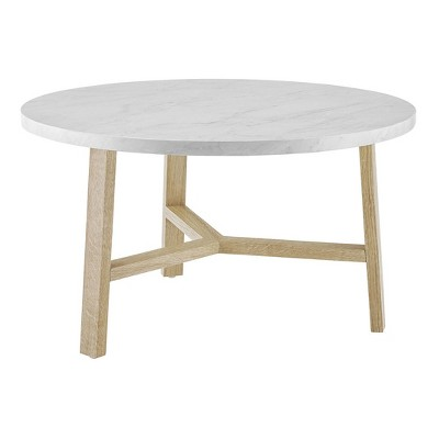 "30"" Modern Round Y Leg Coffee Table Faux White Marble - Saracina Home"