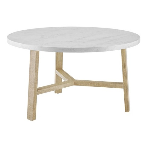 30 Modern Round Y Leg Coffee Table Faux White Marble Light Wood Saracina Home Target