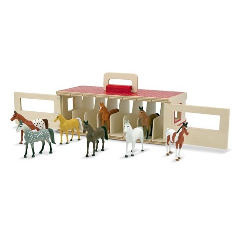 Melissa & Doug Take-Along Show-Horse Stable Play Set With Wooden Stable Box and 8 Toy Horses - image 1 of 4