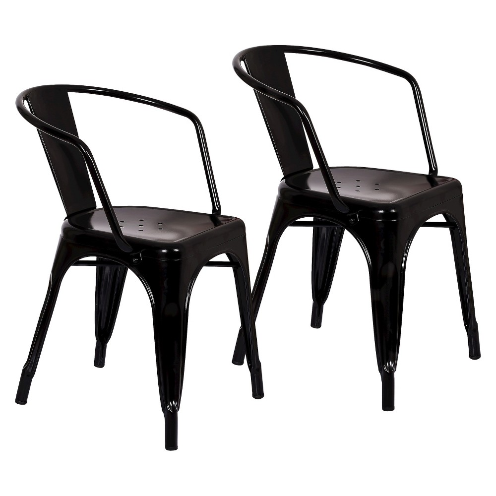 Image of Set of 2 Carlisle Metal Dining Chair Black - Ace Bayou