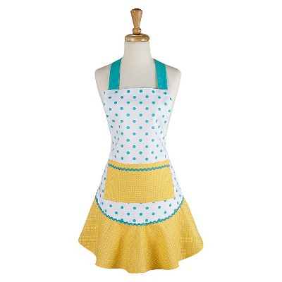 Aqua/Yellow Polka Dot Ruffle Cooking Apron (26 X28.5 )