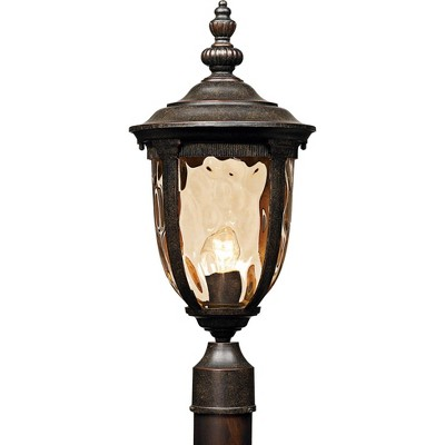 "John Timberland Post Light Veranda Bronze 21"" Hammered Glass for Deck Porch Yard Patio"