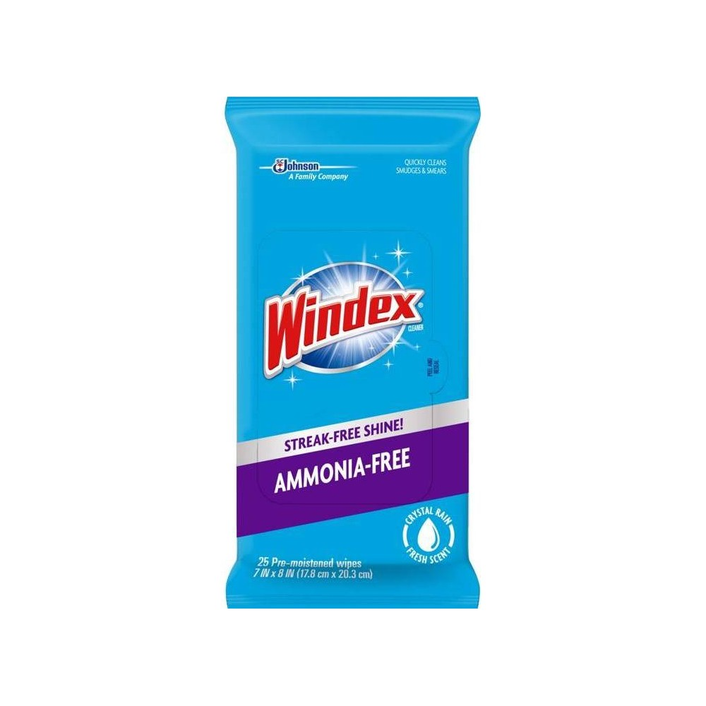 Windex Ammonia Free Fresh Scent Pre-Moistened Wipes - 25ct Windex ammonia-free wipes formula will give your glass surfaces a streak-free shine and a pleasant fresh fragrance. Directions FOR Use: Usage Directions: Pull wipe from pouch and use to clean surfaces such as windows, glass tables, mirrors, car windows, car interior, keyboards, cell phones, touchscreens, Lcd screens, electronics, glass and metal. If using on electronic equipment, follow manufacturer instructions. Before using on an unknown surface, test on an inconspicuous area. Uses: Windex ammonia-free wipes are easy to use on multiple glass surfaces: Windows, Glass Tables, Mirrors, And More.
