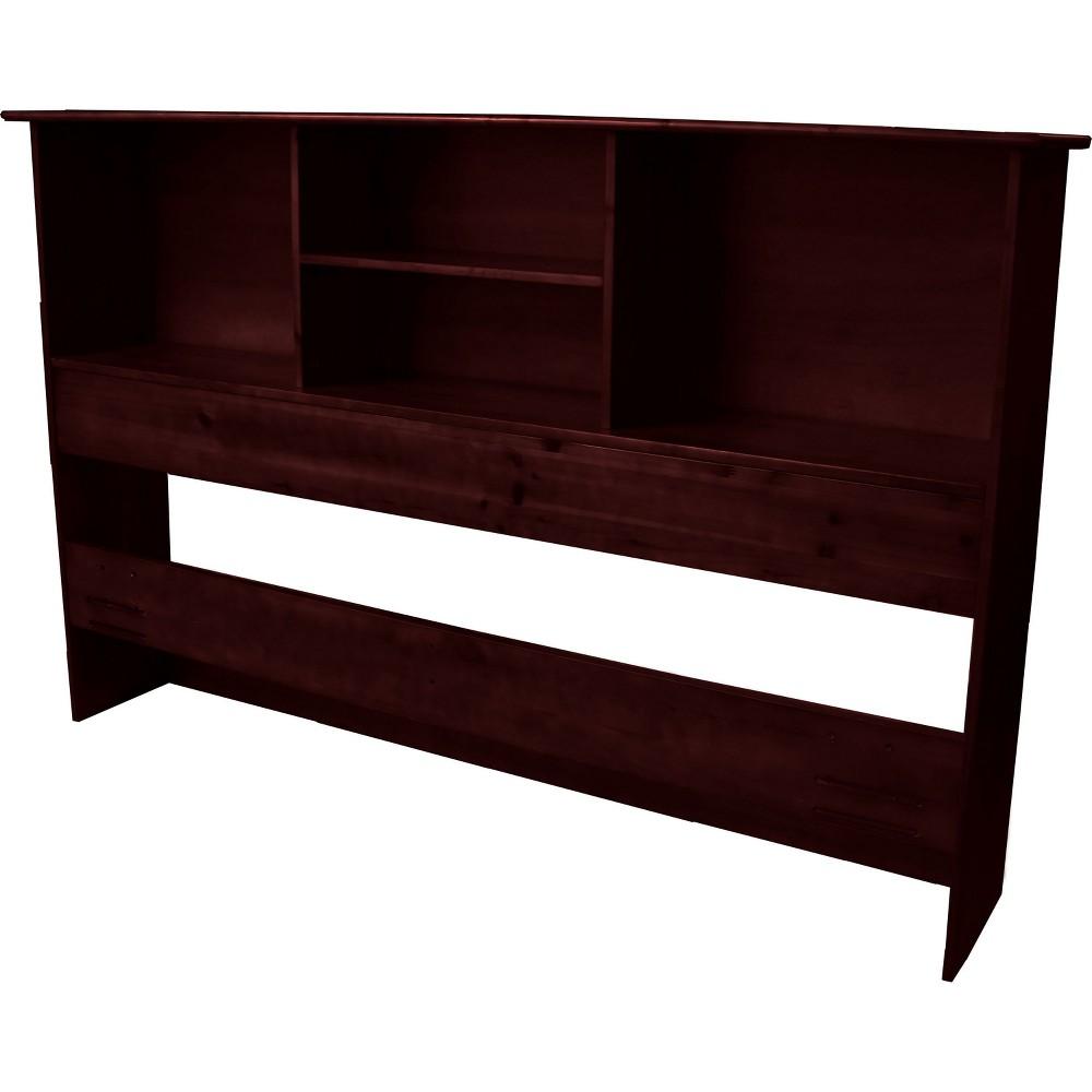 Gibraltar Solid Bamboo Wood Bookcase Style Headboard - Epic Furnishings, Mahogany Finish